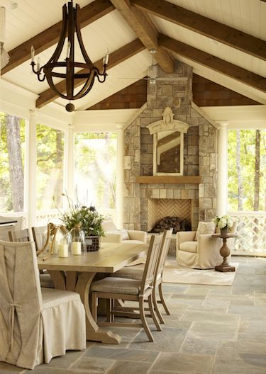 french country room exposed wooden beams